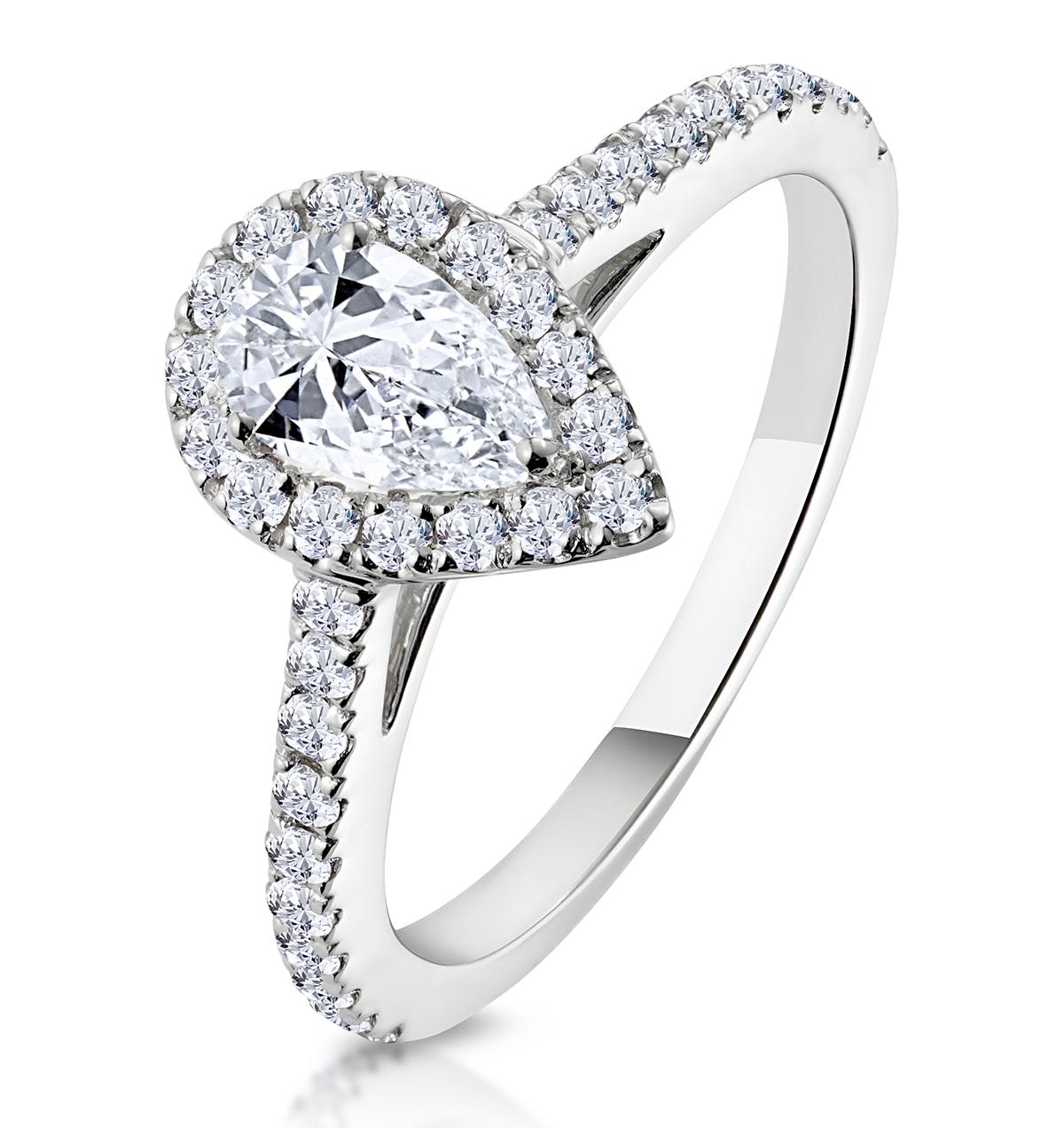 Diana GIA Diamond Pear Halo Engagement Ring Platinum 1ct G/VS2 - image 1