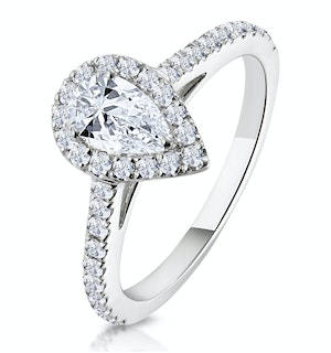 Diana GIA Diamond Pear Halo Engagement Ring 18KW Gold 1ct G/VS2