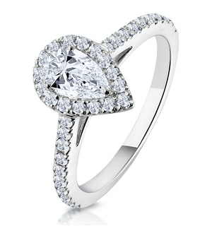 Diana GIA Diamond Pear Halo Engagement Ring 18KW Gold 1ct G/VS1