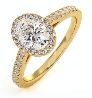 Georgina GIA Oval Diamond Halo Engagement Ring 18K Gold 1.30ct G/Vs1