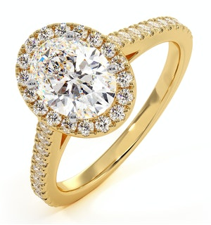 Georgina GIA Oval Diamond Halo Engagement Ring 18K Gold 1.55ct G/VS2