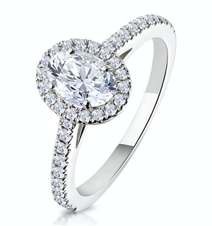 Georgina GIA Oval Diamond Halo Engagement Ring Platinum 1.30ct G/Vs2