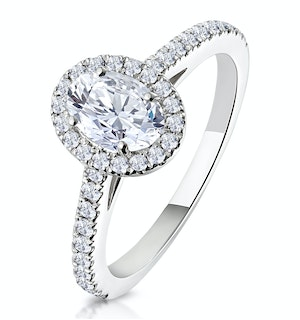 Georgina GIA Oval Diamond Halo Engagement Ring Platinum 1.30ct G/Vs1