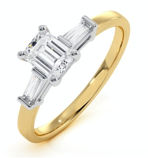 Genevieve GIA Emerald Cut Diamond Ring in 18K Gold 0.70ct G/SI2