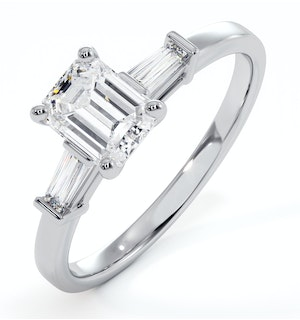 Genevieve GIA Emerald Cut Diamond Ring in Platinum 0.90ct G/VS1