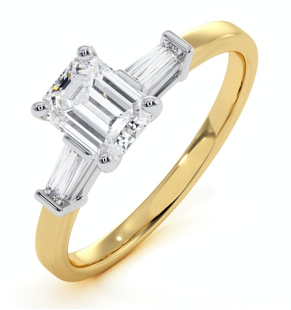 Genevieve GIA Emerald Cut Diamond Ring in 18K Gold 0.90ct G/VS1 - image 1
