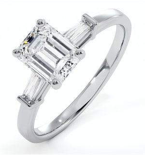 Genevieve GIA Emerald Cut Diamond Ring in Platinum 1.25ct G/VS1