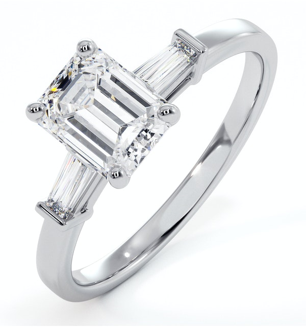 Genevieve GIA Emerald Cut Diamond Ring in Platinum 1.25ct G/VS1 - image 1