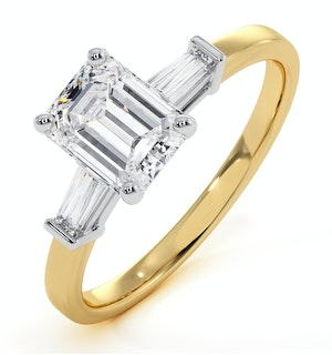 Genevieve GIA Emerald Cut Diamond Ring in 18K Gold 1.25ct G/VS1