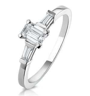 Genevieve GIA Emerald Cut Diamond Ring in Platinum 0.70ct G/SI1