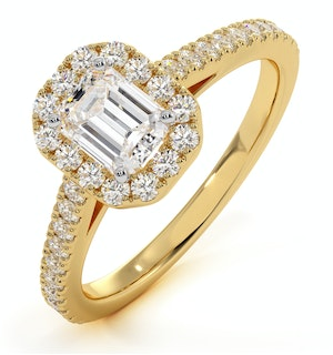 Annabelle GIA Diamond Halo Engagement Ring in 18K Gold 1ct G/VS2