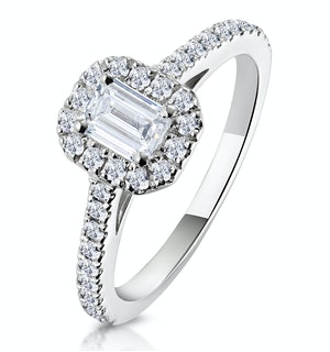 Annabelle GIA Diamond Halo Engagement Ring 18K White Gold 1ct G/VS2
