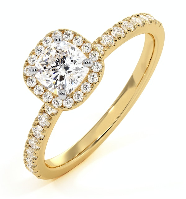 Beatrice GIA Diamond Halo Engagement Ring in 18K Gold 1ct G/VS2 - image 1