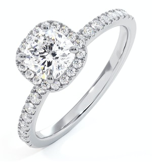 Beatrice GIA Diamond Halo Engagement Ring in Platinum 1.25ct G/VS1