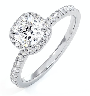 Beatrice GIA Diamond Halo Engagement Ring in Platinum 1.25ct G/SI2