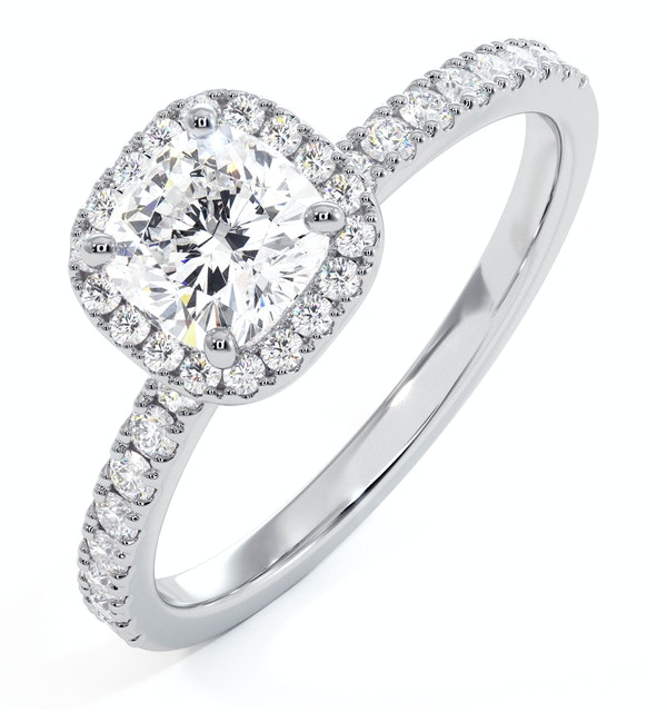 Beatrice GIA Diamond Halo Engagement Ring in Platinum 1.25ct G/SI2 - image 1