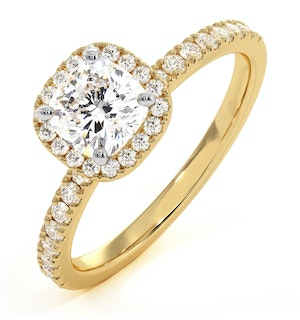 Beatrice GIA Diamond Halo Engagement Ring in 18K Gold 1.25ct G/SI2