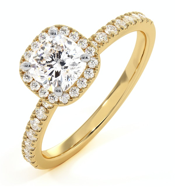 Beatrice GIA Diamond Halo Engagement Ring in 18K Gold 1.25ct G/SI1 - image 1