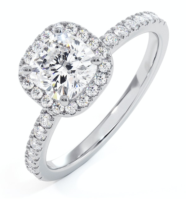 Beatrice GIA Diamond Halo Engagement Ring 18K White Gold 1.48ct G/SI1 - image 1
