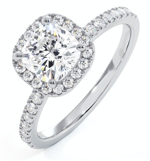Beatrice GIA Diamond Halo Engagement Ring in Platinum 1.65ct G/VS1