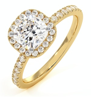 2.60ct Beatrice Lab Diamond Halo Engagement Ring in 18K Gold G/VS1