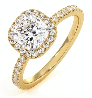 Beatrice Lab Diamond Halo Engagement Ring in 18K Gold 1.65ct G/VS1