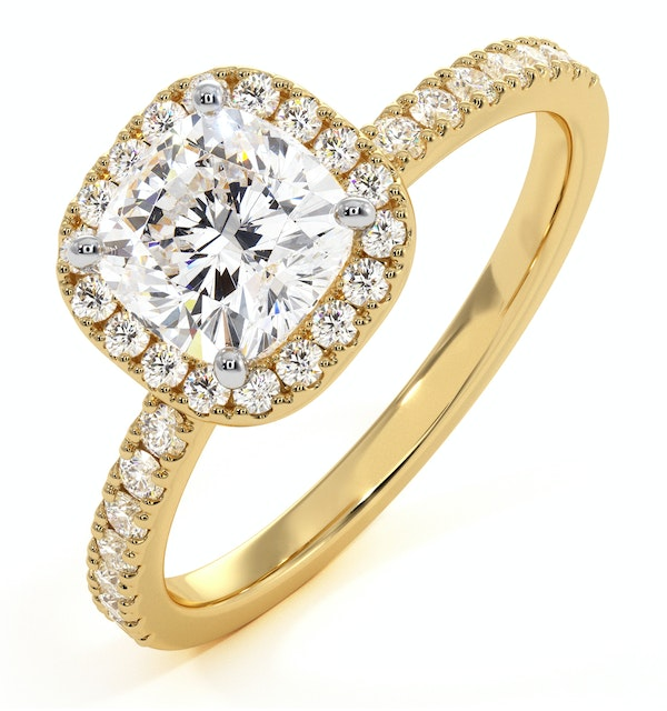 Beatrice GIA Diamond Halo Engagement Ring in 18K Gold 1.65ct G/VS2 - image 1