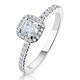 Beatrice GIA Diamond Halo Engagement Ring 18K White Gold 1ct G/SI2 - image 1