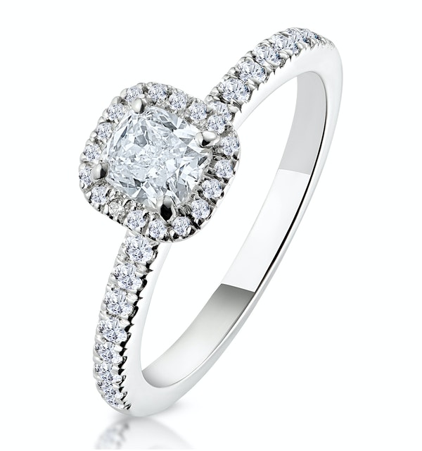 Beatrice GIA Diamond Halo Engagement Ring 18K White Gold 1ct G/VS2 - image 1