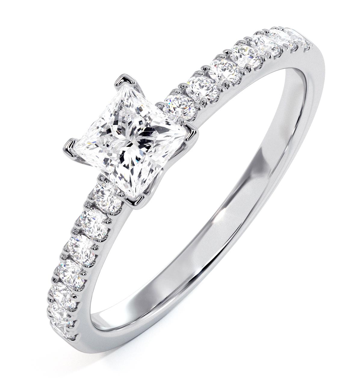Katerina GIA Princess Diamond Engagement Ring Platinum 0.85ct G/SI2 - image 1