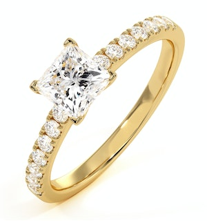 Katerina GIA Princess Diamond Engagement Ring 18K Gold 1.25ct G/SI2