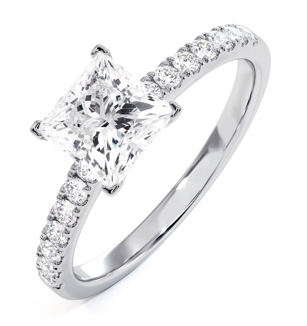 Katerina GIA Princess Diamond Engagement Ring 18KW Gold 1.55ct G/VS1 - image 1