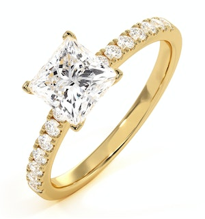 2.40ct Katerina Lab Princess Diamond Engagement Ring 18K Gold G/VS1