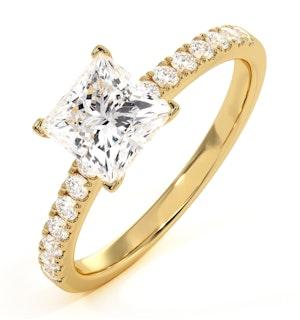 Katerina Lab Princess Diamond Engagement Ring 18K Gold 1.65ct G/VS1