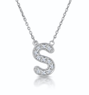 Initial 'S' Necklace Diamond Encrusted Pave Set in 9K White Gold