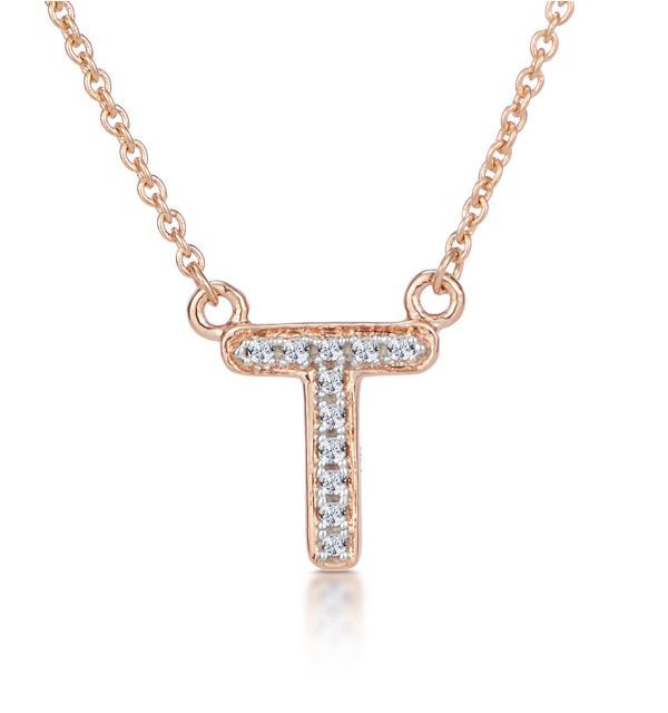 Initial 'T' Necklace Diamond Encrusted Pave Set in 9K Rose Gold - image 1