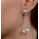 Pearl White Topaz Triple Square Drop Tesoro Earrings in 925 Silver - image 4