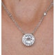 Round Bezel Set White Topaz Tesoro Necklace in 925 Silver - UP3240 - image 4
