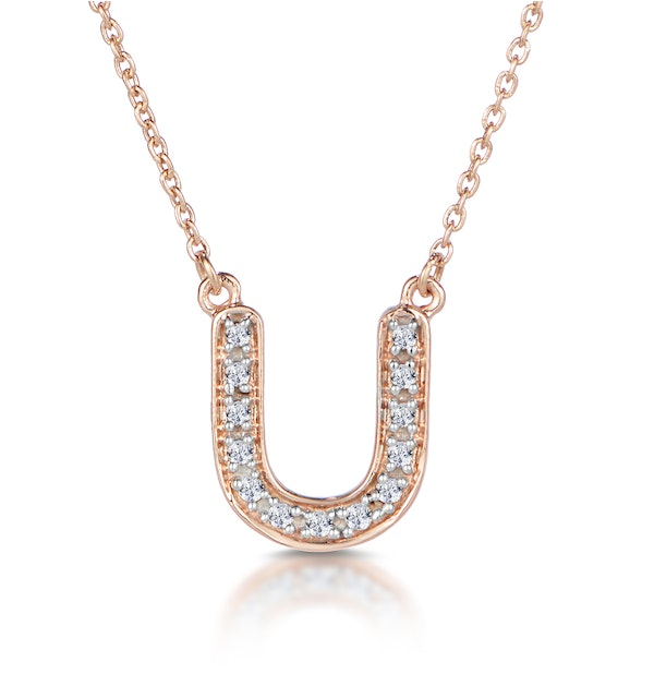 Initial 'U' Necklace Diamond Encrusted Pave Set in 9K Rose Gold - image 1