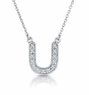 Initial 'U' Necklace Diamond Encrusted Pave Set in 9K White Gold