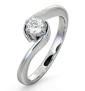 Certified Leah 18K White Gold Diamond Engagement Ring 0.33CT