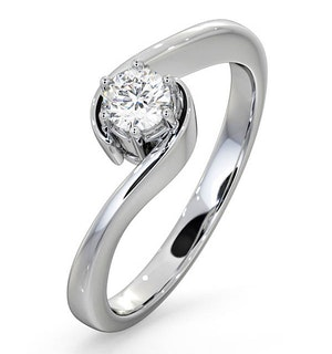 Certified Leah 18K White Gold Diamond Engagement Ring 0.33CT-F-G/VS