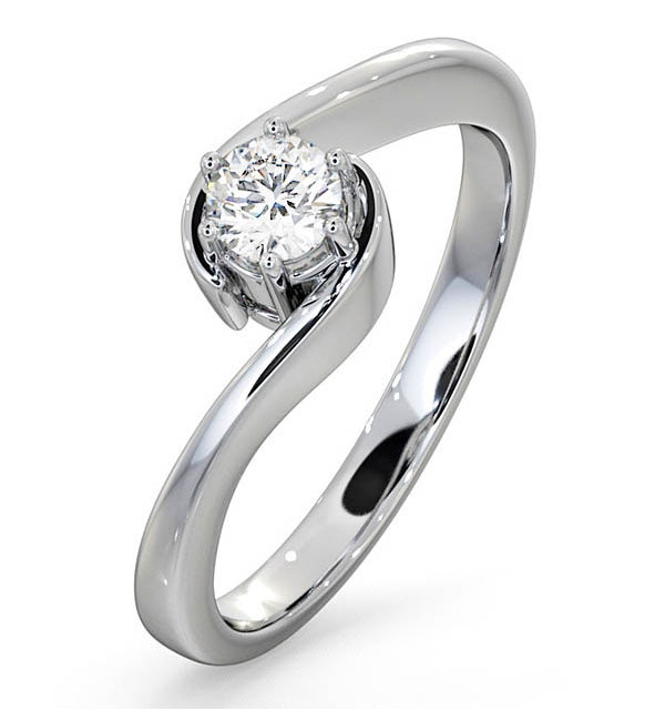 Certified Leah 18K White Gold Diamond Engagement Ring 0.25CT-F-G/VS - image 1