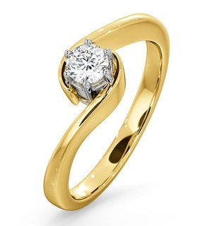 Certified Leah 18K Gold Diamond Engagement Ring 0.25CT-G-H/SI