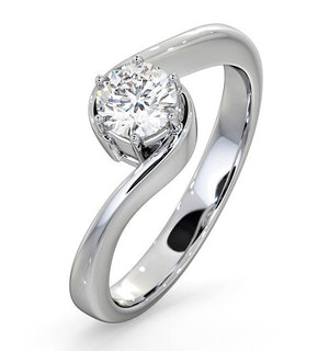 Certified Leah 18K White Gold Diamond Engagement Ring 0.50CT