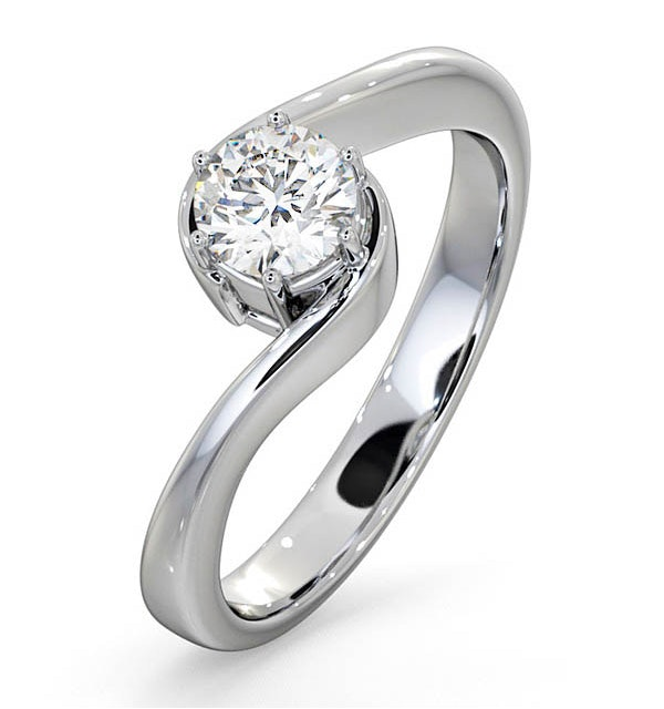 Certified 0.50CT Leah 18K White Gold Engagement Ring G/SI1 - image 1