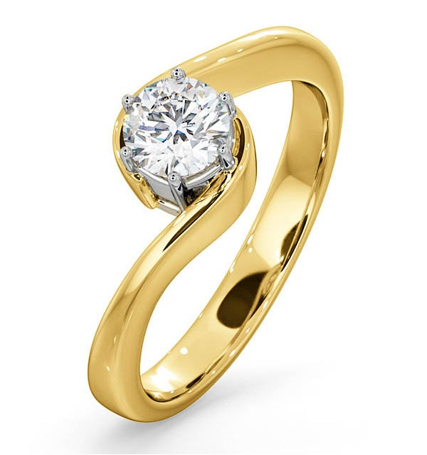 Certified 0.50CT Leah 18K Gold Engagement Ring G/SI1 - image 1