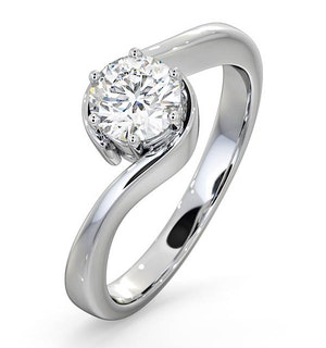 Certified 0.70CT Leah Platinum Engagement Ring G/SI2