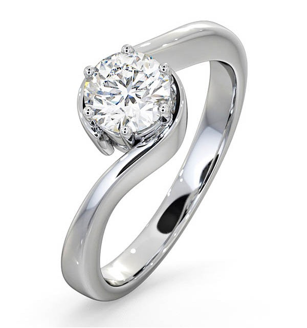 Certified 0.70CT Leah 18K White Gold Engagement Ring E/VS1 - image 1
