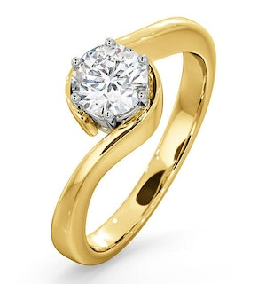 Certified 0.70CT Leah 18K Gold Engagement Ring G/SI1